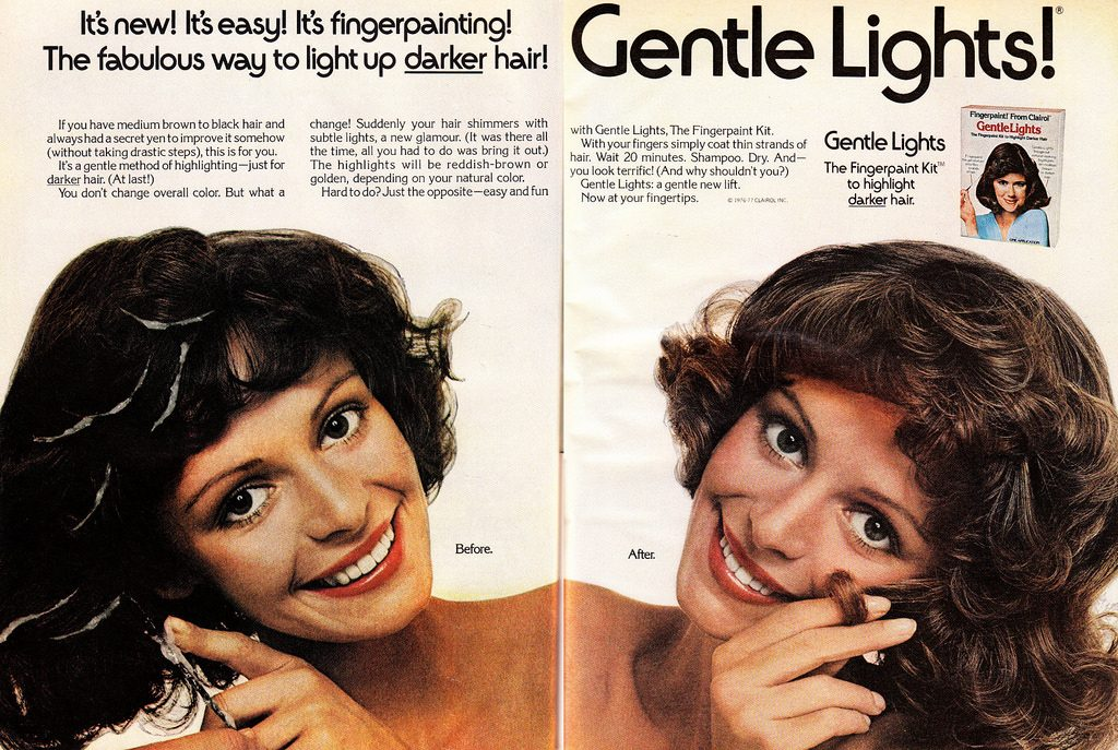 photo credit: 1977 Beauty Ad, Clairol Gentle Lights Hair Finger Painting Kit (2-page advert) via photopin (license)